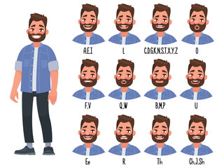 Set of the position of the lips when pronouncing words for the animation of the talking character