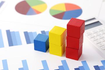 グラフ ビジネスイメージ Block graph business concept