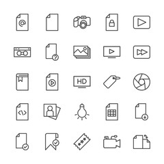 Modern Simple Set of video, photos, bookmarks, files Vector outline Icons. Contains such Icons as  lens, sheet,  document,  retro,  check and more on white background. Fully Editable. Pixel Perfect.