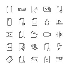 Modern Simple Set of video, photos, bookmarks, files Vector outline Icons. Contains such Icons as  label,  folder,  paper,  flash, remove and more on white background. Fully Editable. Pixel Perfect.