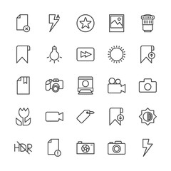 Modern Simple Set of video, photos, bookmarks, files Vector outline Icons. Contains such Icons as error, dark,  camera, camera,  delete and more on white background. Fully Editable. Pixel Perfect.