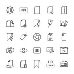 Modern Simple Set of video, photos, bookmarks, files Vector outline Icons. Contains such Icons as  zip,  document,  information,  dslr, hd and more on white background. Fully Editable. Pixel Perfect.