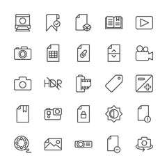 Modern Simple Set of video, photos, bookmarks, files Vector outline Icons. Contains such Icons as  file,  check,  delete,  no people,  add and more on white background. Fully Editable. Pixel Perfect.