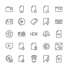 Modern Simple Set of video, photos, bookmarks, files Vector outline Icons. Contains such Icons as  compact,  lens,  play,  document,  paper and more on white background. Fully Editable. Pixel Perfect.