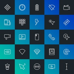 Modern Simple Set of mobile, video, photos, cursors Vector outline Icons. Contains such Icons as play,  picture,  time,  no and more on dark and gradient background. Fully Editable. Pixel Perfect.