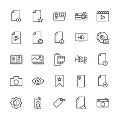 Modern Simple Set of video, photos, bookmarks, files Vector outline Icons. Contains such Icons as  picture, camera,  mobile,  cameraman and more on white background. Fully Editable. Pixel Perfect.