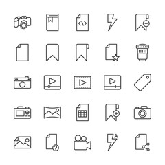 Modern Simple Set of video, photos, bookmarks, files Vector outline Icons. Contains such Icons as  data,  school,  file, , business,  flash and more on white background. Fully Editable. Pixel Perfect.