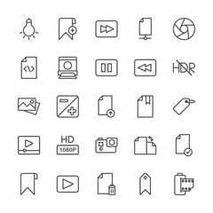 Modern Simple Set of video, photos, bookmarks, files Vector outline Icons. Contains such Icons as  scroll,  system, bulb,  iso,  photo, add and more on white background. Fully Editable. Pixel Perfect.