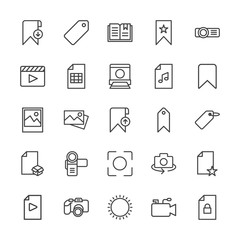 Modern Simple Set of video, photos, bookmarks, files Vector outline Icons. Contains such Icons as  nature, microphone, projector,  sky and more on white background. Fully Editable. Pixel Perfect.