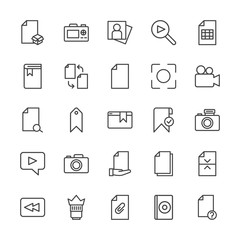 Modern Simple Set of video, photos, bookmarks, files Vector outline Icons. Contains such Icons as  template,  document,  objective, office and more on white background. Fully Editable. Pixel Perfect.