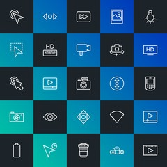 Modern Simple Set of mobile, video, photos, cursors Vector outline Icons. Contains such Icons as wireless,  media,  camera,  no and more on dark and gradient background. Fully Editable. Pixel Perfect.