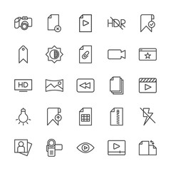 Modern Simple Set of video, photos, bookmarks, files Vector outline Icons. Contains such Icons as  camera,  nature,  rotation,  cinema, hdr and more on white background. Fully Editable. Pixel Perfect.