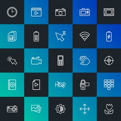 Modern Simple Set of mobile, video, photos, cursors Vector outline Icons. Contains such Icons as  cinema,  pocket, clock,  time and more on dark and gradient background. Fully Editable. Pixel Perfect.