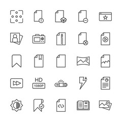 Modern Simple Set of video, photos, bookmarks, files Vector outline Icons. Contains such Icons as portrait,  photo,  open,  computer,  sign and more on white background. Fully Editable. Pixel Perfect.