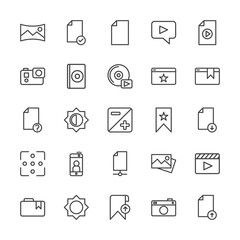 Modern Simple Set of video, photos, bookmarks, files Vector outline Icons. Contains such Icons as panorama, message,  action,  camera and more on white background. Fully Editable. Pixel Perfect.