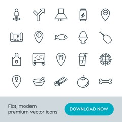 Modern Simple Set of food, location, drinks Vector outline Icons. Contains such Icons as  healthy,  drink,  meal,  earth,  interior, sushi and more on white background. Fully Editable. Pixel Perfect.