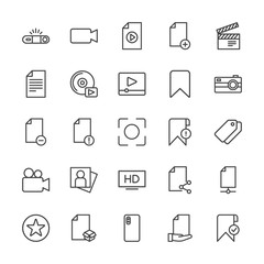 Modern Simple Set of video, photos, bookmarks, files Vector outline Icons. Contains such Icons as  favorite,  production,  device, add, box and more on white background. Fully Editable. Pixel Perfect.