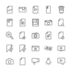 Modern Simple Set of video, photos, bookmarks, files Vector outline Icons. Contains such Icons as  corrupt,  lightbulb,  equipment,  data and more on white background. Fully Editable. Pixel Perfect.