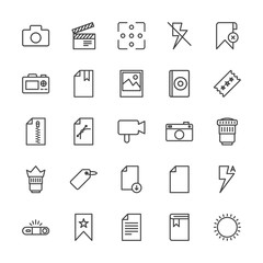 Modern Simple Set of video, photos, bookmarks, files Vector outline Icons. Contains such Icons as  education,  camera,  information, remove and more on white background. Fully Editable. Pixel Perfect.