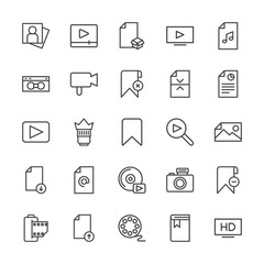 Modern Simple Set of video, photos, bookmarks, files Vector outline Icons. Contains such Icons as  internet,  office, upload,  retro,  lens and more on white background. Fully Editable. Pixel Perfect.