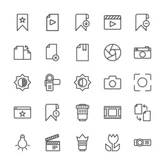 Modern Simple Set of video, photos, bookmarks, files Vector outline Icons. Contains such Icons as  download,  technology, camera,  camera,  and more on white background. Fully Editable. Pixel Perfect.