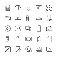 Modern Simple Set of video, photos, bookmarks, files Vector outline Icons. Contains such Icons as  error,  lamp,  technology, panorama,  cd and more on white background. Fully Editable. Pixel Perfect.
