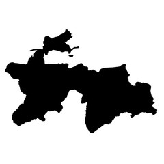 black silhouette country borders map of Tajikistan on white background. Contour of state. Vector illustration