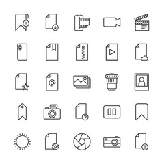 Modern Simple Set of video, photos, bookmarks, files Vector outline Icons. Contains such Icons as  vintage, film,  photography,  error and more on white background. Fully Editable. Pixel Perfect.