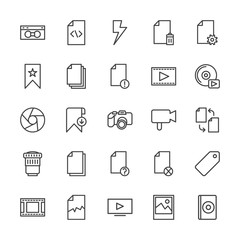 Modern Simple Set of video, photos, bookmarks, files Vector outline Icons. Contains such Icons as  favorite, business,  compact, bookmark and more on white background. Fully Editable. Pixel Perfect.