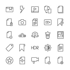 Modern Simple Set of video, photos, bookmarks, files Vector outline Icons. Contains such Icons as  paper, check, business, office, player and more on white background. Fully Editable. Pixel Perfect.