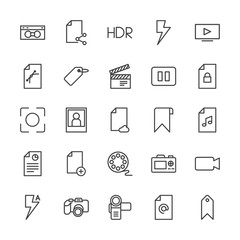 Modern Simple Set of video, photos, bookmarks, files Vector outline Icons. Contains such Icons as  background, internet,  flash,  document and more on white background. Fully Editable. Pixel Perfect.