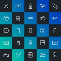 Modern Simple Set of mobile, video, photos, cursors Vector outline Icons. Contains such Icons as  caption,  sign, video,  film and more on dark and gradient background. Fully Editable. Pixel Perfect.