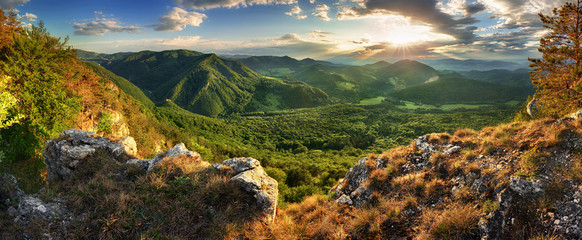 Panorama of spring mountain with forest at sunset, Slovakia