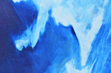 White and blue watercolor paintings on canvas