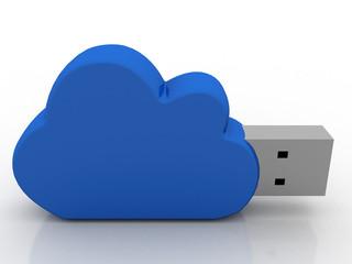 3d render Cloud wifi in usb