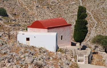 A chapel in the rocky hills near Chorio on the Greek island of Halki.