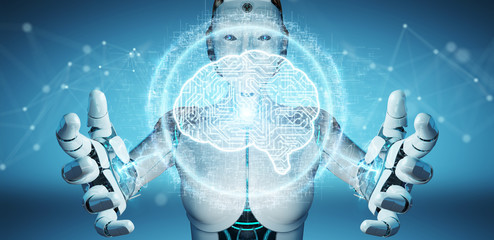 White humanoid woman using digital artificial intelligence icon hologram 3D rendering