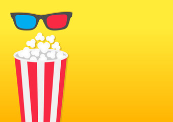 Popcorn round box. Movie Cinema icon in flat design style. Pop corn popping. Left side template. Empty space. Yellow gradient background. Fast food.