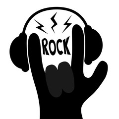Rock music. Headphones lightning light. Rock&roll hand finger black silhouette shape icon. Heavy metal gesture horns sign symbol. Flat design. Isolated. White background.