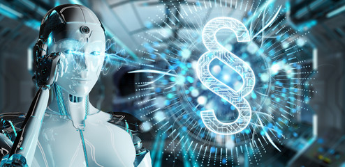 White robot woman using law paragraph digital hologram 3D rendering