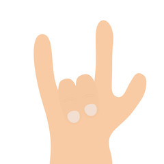 Rock & roll hand finger shape icon. Heavy metal gesture horns sign symbol. Rock and roll. Music card. Flat design. Isolated. White background.