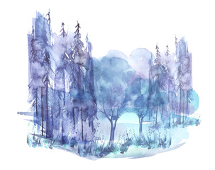 Watercolor group of trees - fir, pine, cedar, fir-tree, oak. Blue, Gray forest, landscape, forest landscape,slope, mountain. Drawing on white isolated background.