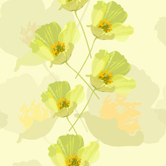 Vector seamless gentle floral background yellow poppies on a yellow background in pastel colors, pattern for wallpaper, textile, wrapping paper