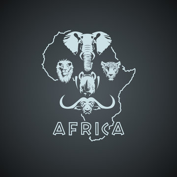 African continent shape with big five animals