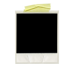 XXXL Ð blank polaroid photo. Isolated vintage frame with yellow tape