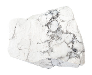 raw Howlite stone isolated on white