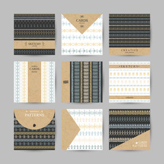 Set of 6 creative cards with hand-drawn tribal patterns and place for your text.