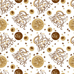 Seamless pattern. Coffee theme. Coffee-break. Lettering. A Cup of coffee. The seeds of coffee. On white background.Vector illustration