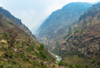 Mountain river in a deep gorge in the Himalayas.