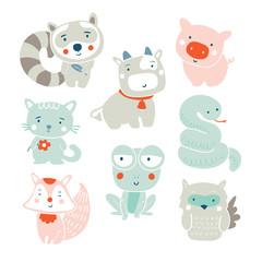 Set of cute vector animals